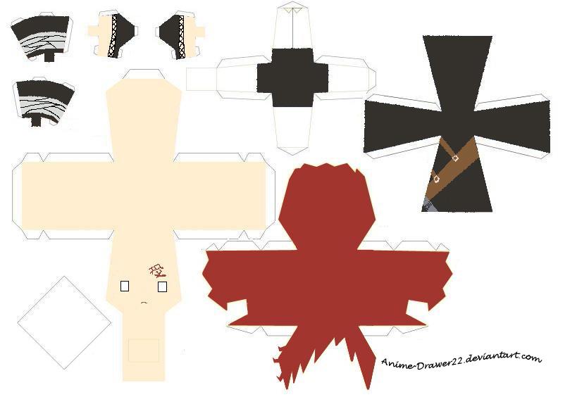 Gaara Papercraft Template by InnocentlyCreating Papercraft Templates Anime