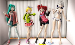 Vocaloid Summer Fashion Close-Up by Sofia-MMD
