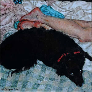 Nude Woman With Dog (in the manner of Courbet)