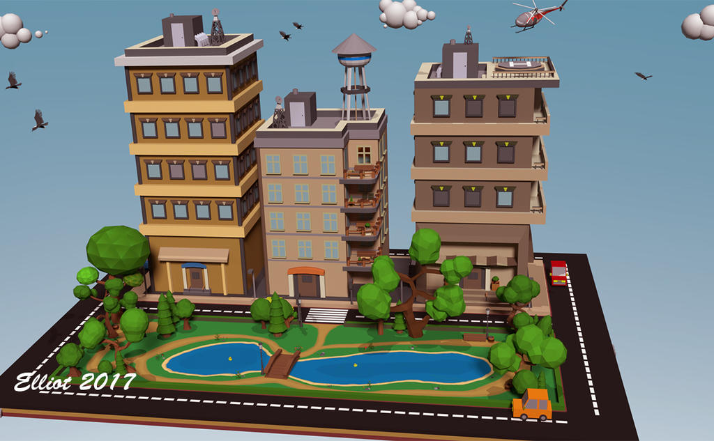 Low poly city by ElliotMeijer on DeviantArt