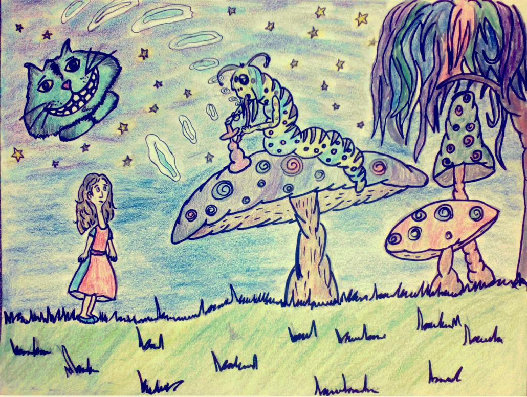 Alice meets the caterpillar by Deepblackdarkness