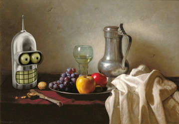 Still Life With Bender, Glass And Fruit