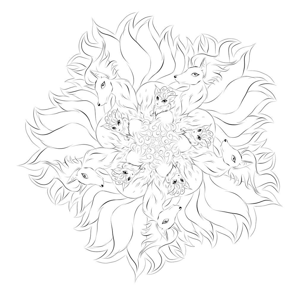 Pokemon mandala vulpix ninetails by kialeinchen on for Vulpix coloring pages