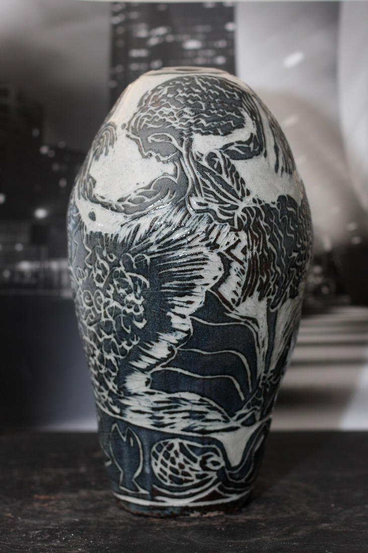 Etched ceramic vase stoneware with relief carving by