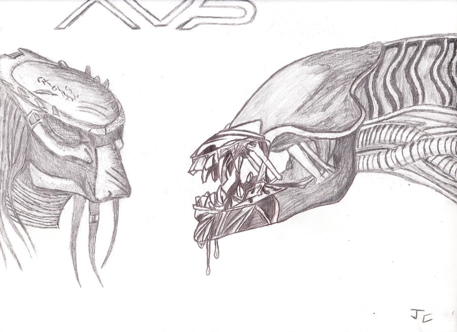 Alien vs predator sketch by xpvtcaboosex