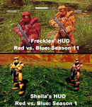 Freckles' and Sheila's HUD Comparison