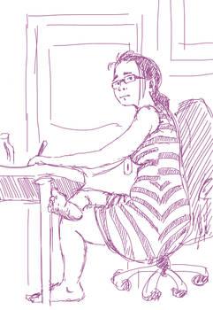 Me, drawing