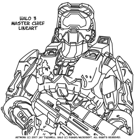 Halo 3 Master Chief Lineart By N1k3dud3 On Deviantart