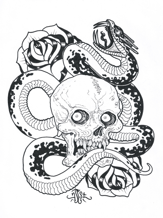 Skull And Snake Drawing By NJESTstudio
