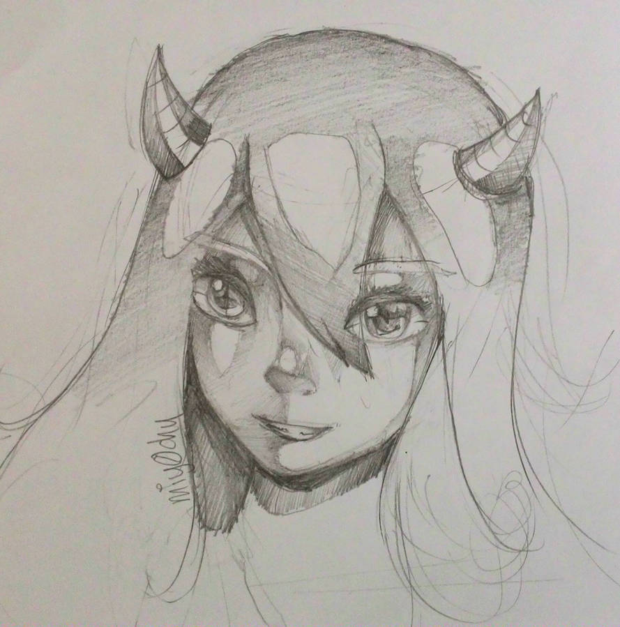 Digital art styled pencil drawing anime by miy0chu