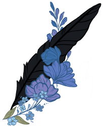 Larkspur,Forget-Me-Not, and Ravens Feather