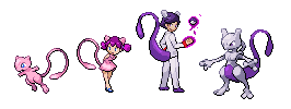 Mew and MewTwo Trainer Sprites by GreenSpiralCat