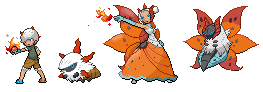 Volcarona and Larvesta Human Sprites by GreenSpiralCat