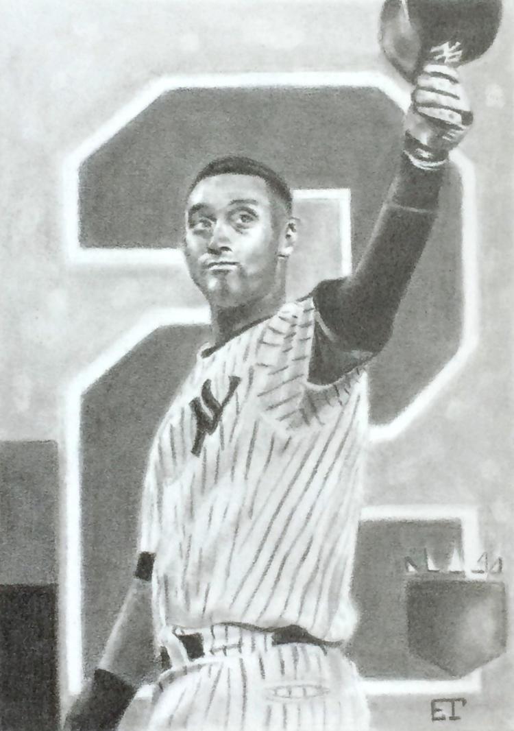 Derek Jeter Yankees Baseball Sketch Card by avintagedreamer