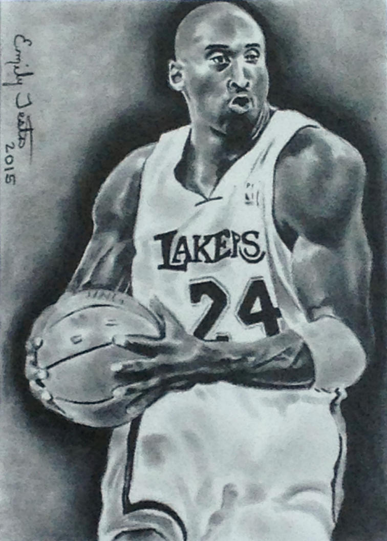 Kobe Bryant La Lakers Basketball Sketch Card By
