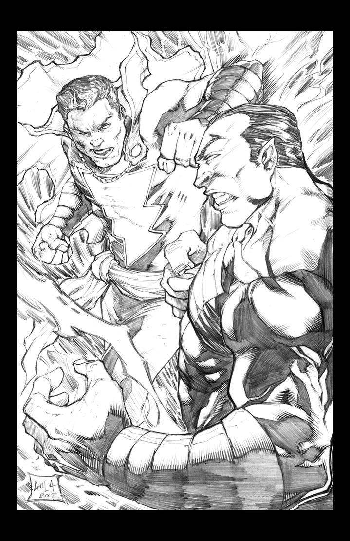 Captain Marvel vs Black Adam by hanzozuken