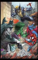 Superhero Battle colored by hanzozuken