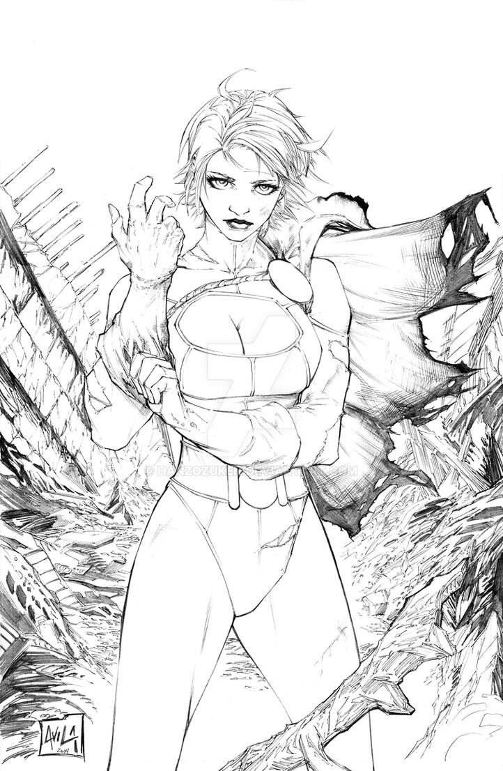 Power Girl Pencils Commission by hanzozuken