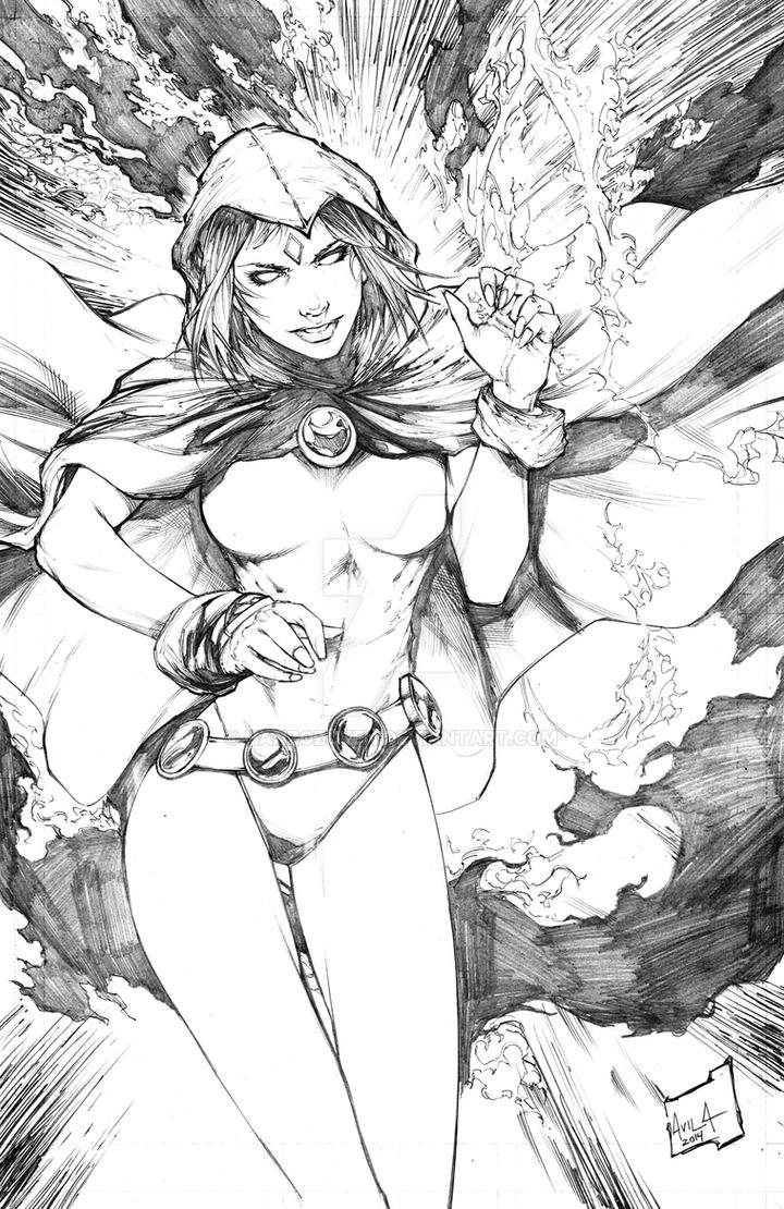 Raven from Teen Titans Pencils by hanzozuken