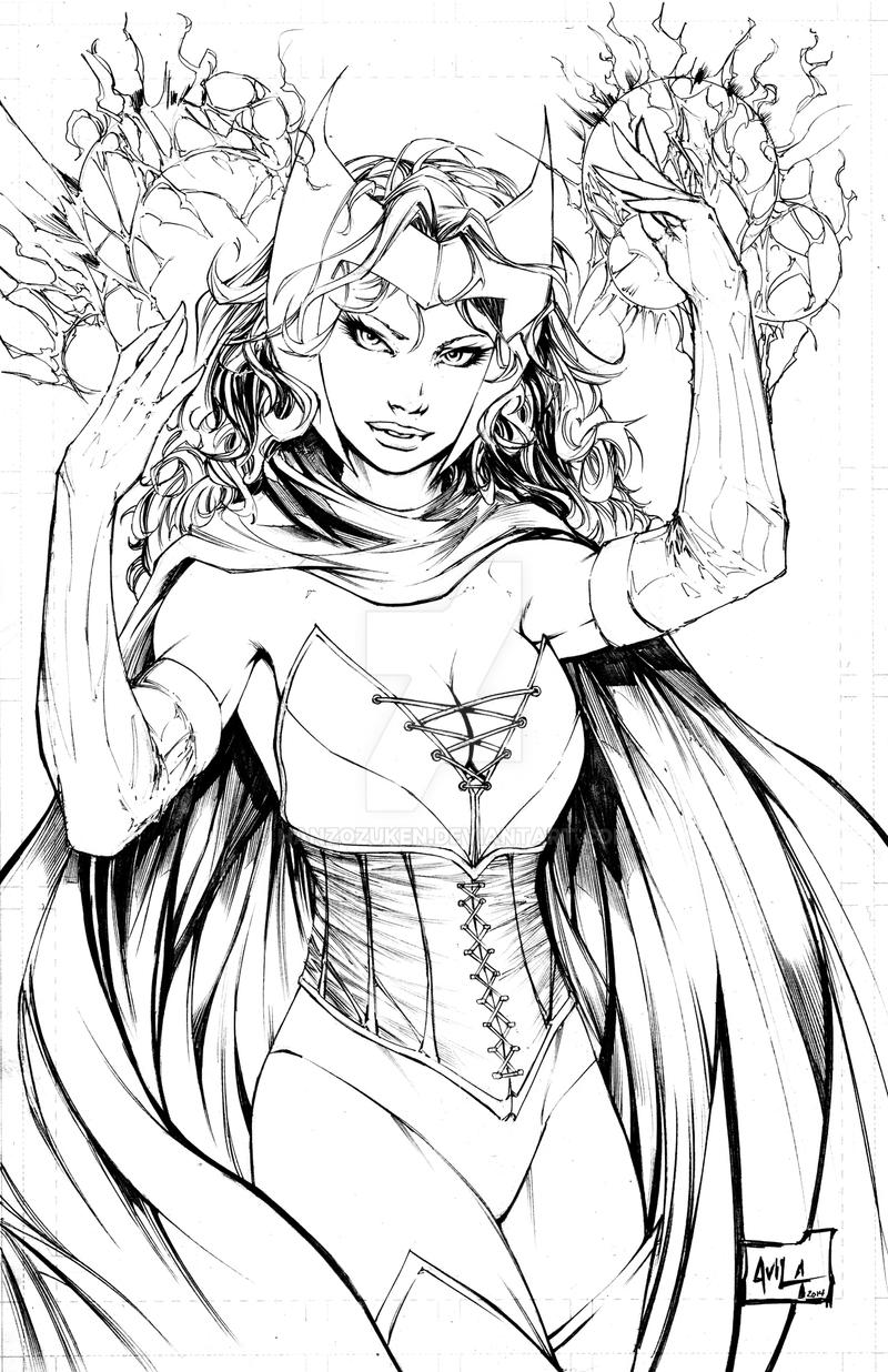 Scarlet Witch Pencils By Hanzozuken On Deviantart Avengers Coloring Page