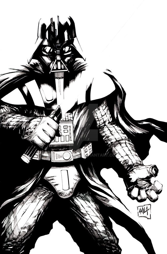 Darth vader inks by hanzozuken on deviantart for Darth vader black and white