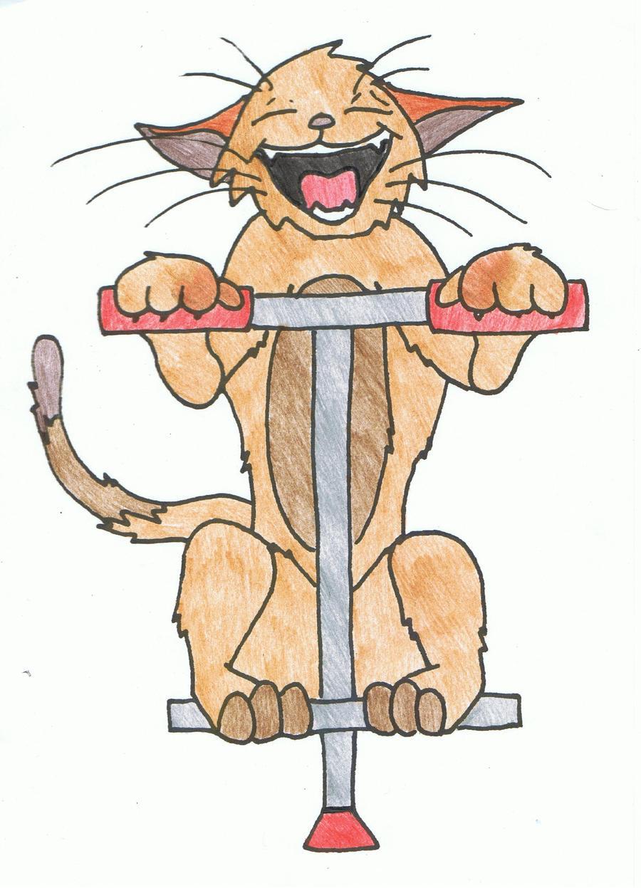 Coloured Kitty On A Pogo Stick by Phantom-Wolf42