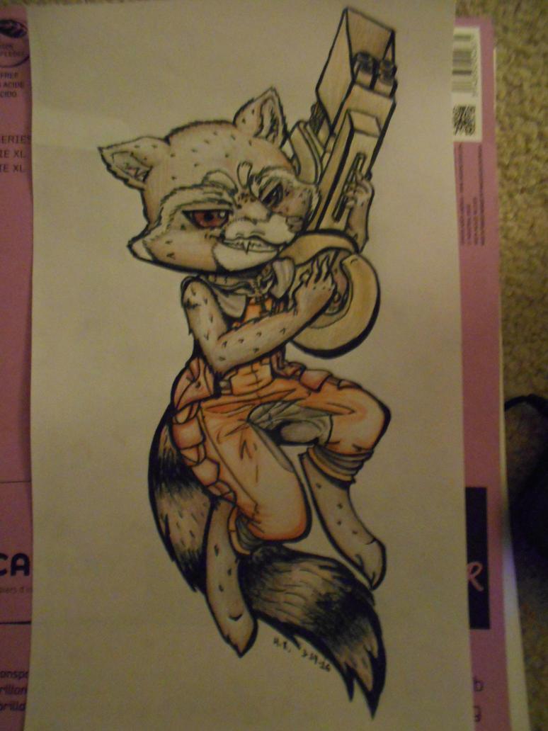 Rocket Raccoon Inked by myinsanebestfriend