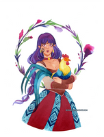 Watercolor: Sif and rooster by sionra
