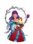 Watercolor: Sif and rooster