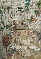 Harry Potter Greenhouse - Inktober 1 by RaggedVixen