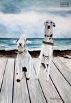 Bedlington Terrier and Whippet Portrait by RaggedVixen