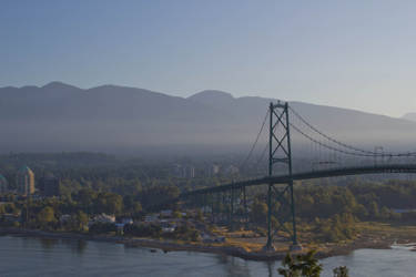 Foggy morning view of the Lions Gate Bridge by ChloeGPhotography