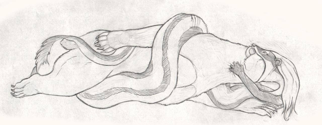 Nyoka and the bear (pencil sketch) by Greedywoozle