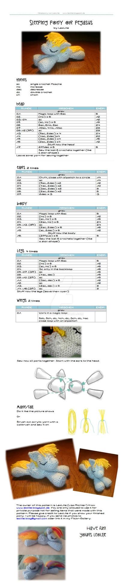 Free MLP Crochet Pattern Amigurumi Sleeping Pony o by LeoLilie