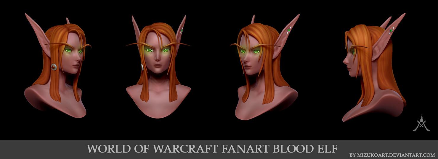WOW FanArt Blood Elf Sindel 3D Portrait by MizukoArt on