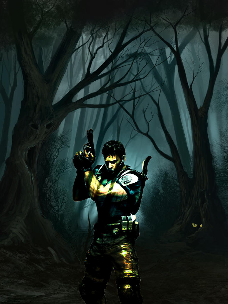 Chris Redfield in a dark forest by meganabber