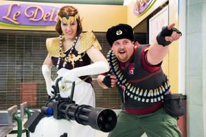 Zelda with Heavy's minigun ? HELL YEAH by SparklesStorm