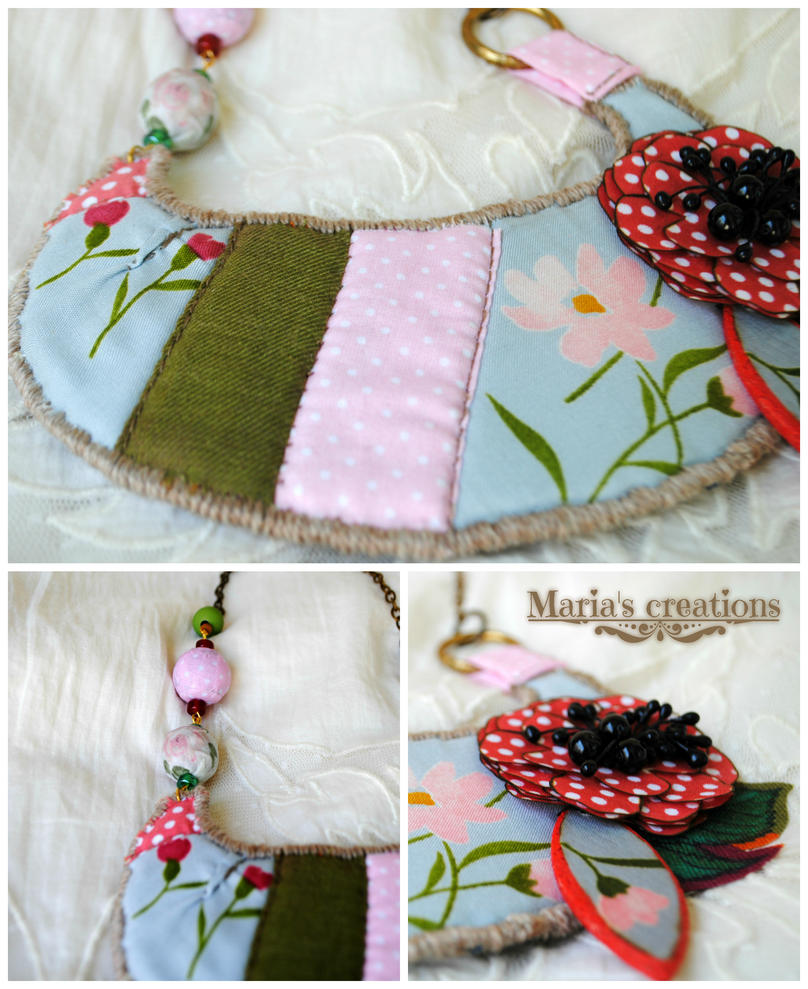 Floral fabric necklace by marakigr