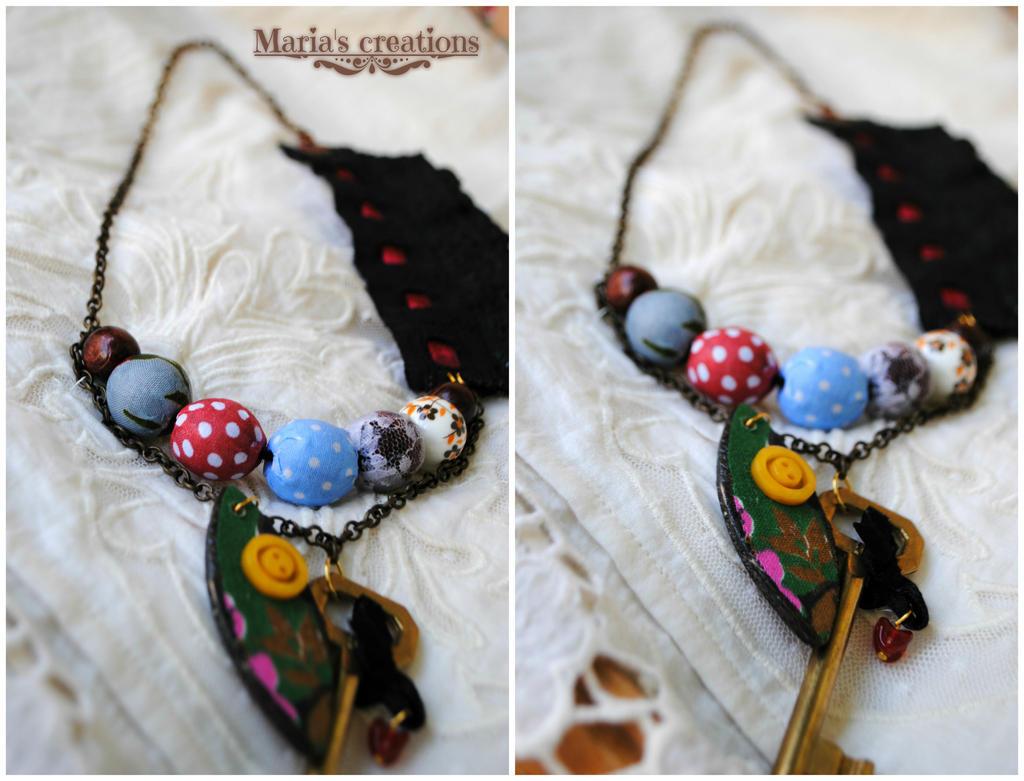Fabric decoupage bead lace key summer necklace by marakigr