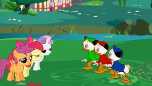 The Cutie Mark Crusaders vs Huey, Dewey, and Louie by Flutterflyraptor