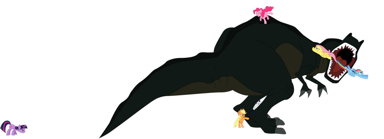 The mane six vs, Sharptooth. by Flutterflyraptor
