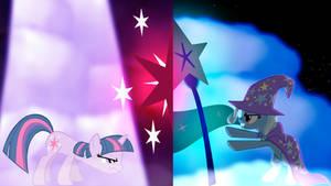 Twilight Sparkle vs Trixie wallpaper, two.