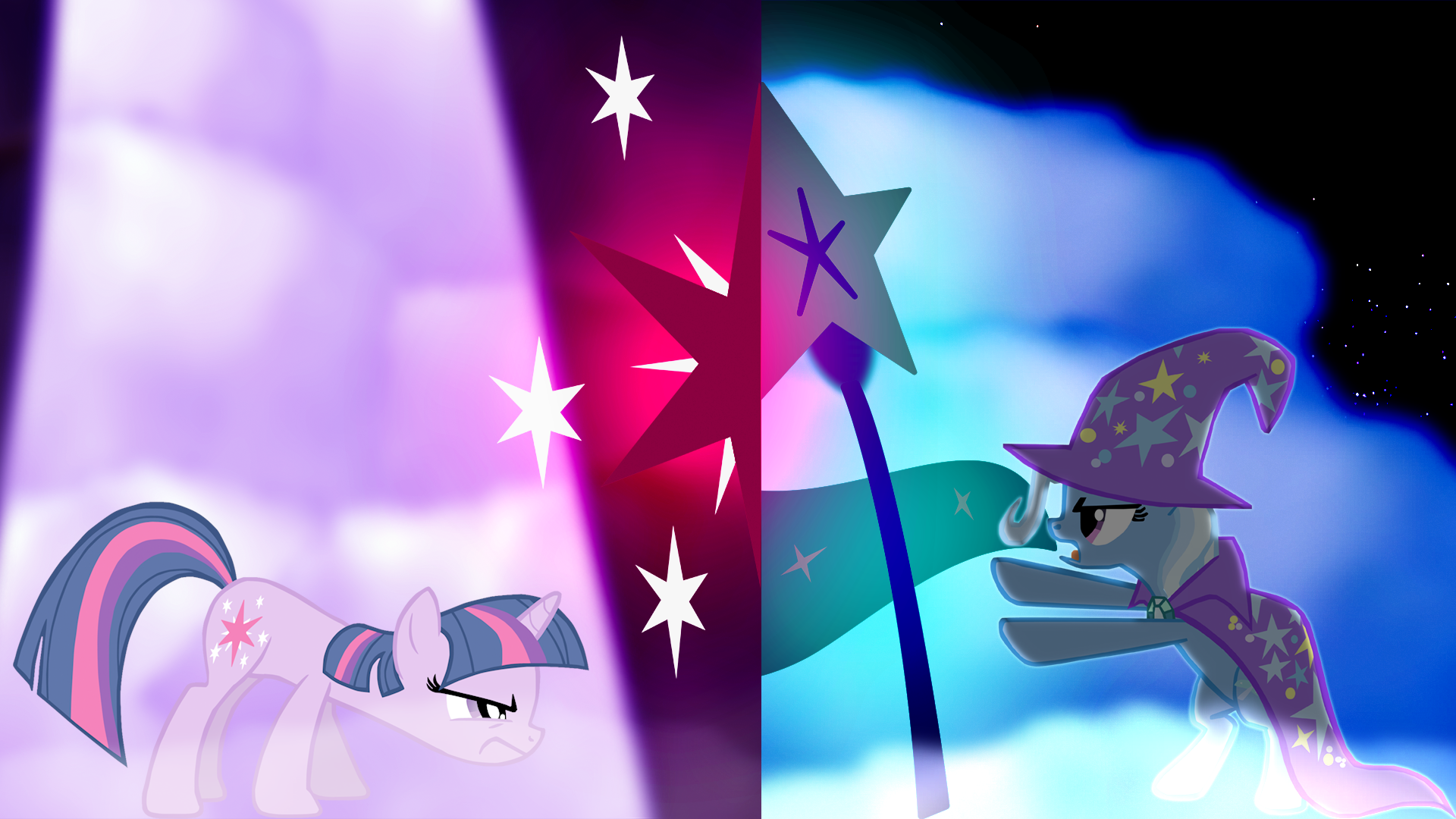 Twilight Sparkle vs Trixie wallpaper, two. by Flutterflyraptor