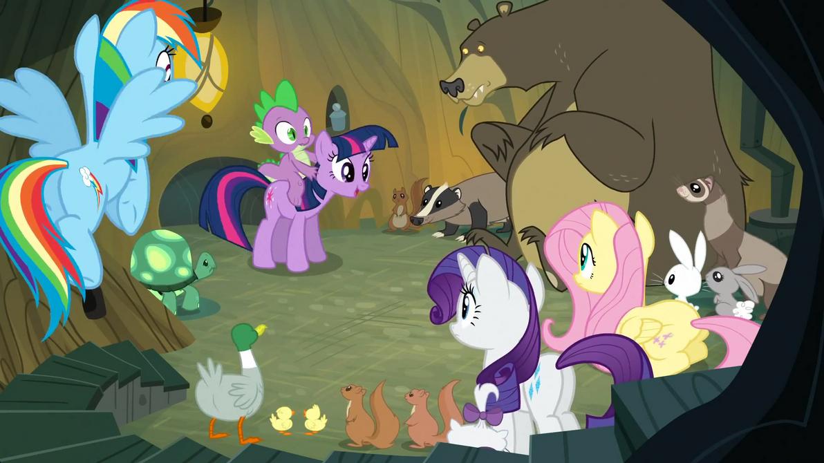 Twilight Sparkle visits the woodland animals. by Flutterflyraptor