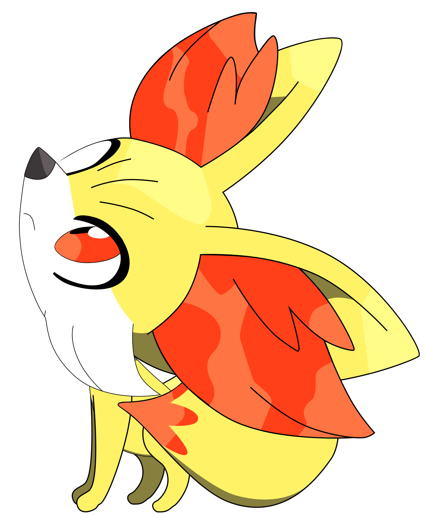 Fennekin sitting down pose, part one 36/37. by Flutterflyraptor