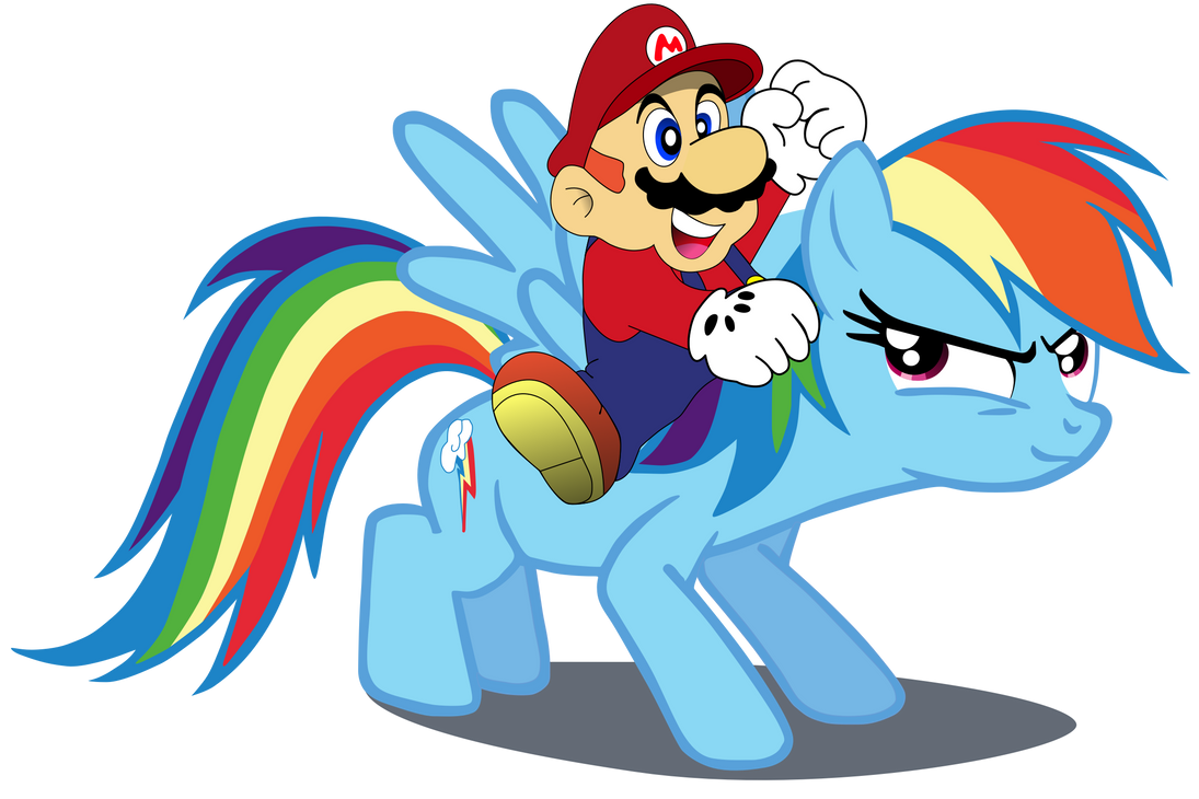 Super Mario, and Rainbow Dash. by Flutterflyraptor