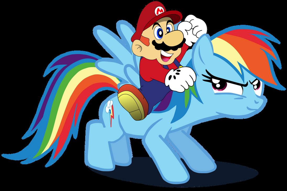 Super Mario, and Rainbow Dash. by Flutterflyraptor