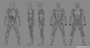 Sci-fi/cyberpunk modular armor design commish by Klerych