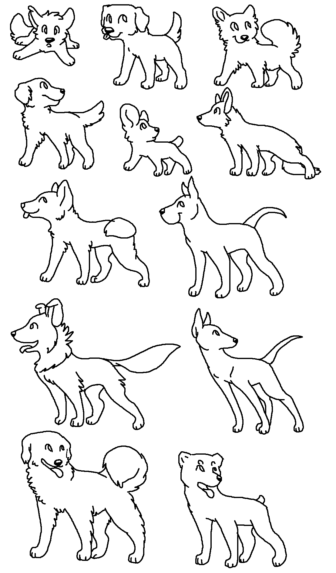 Free MS Paint Dog Breed Batch Lineart By KayAdoptables On