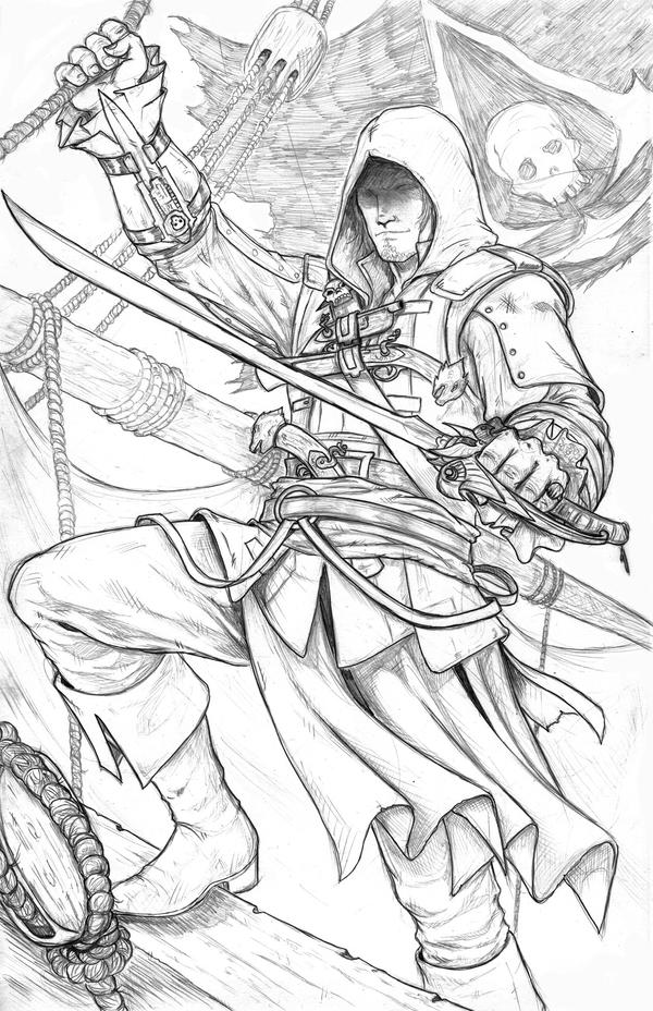 assassin s creed coloring pages - edward kenway black flag sketch by wil woods on deviantart